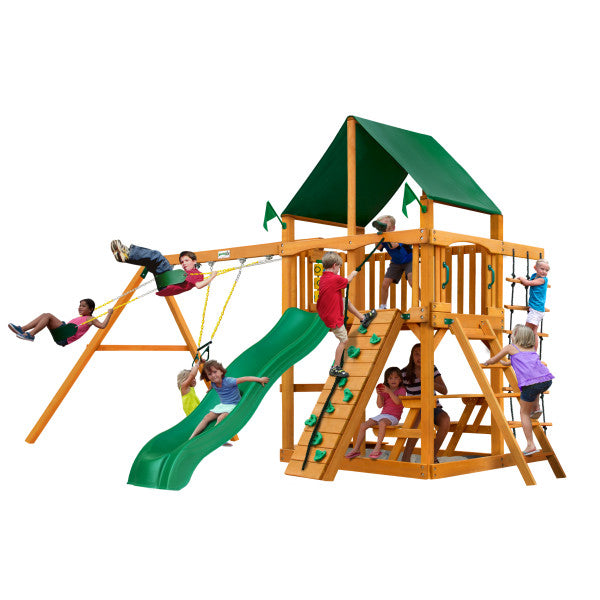 Gorilla Chateau Wooden Swing Set with Sunbrella® Canvas Canopy, Deluxe Rope Ladder, and Rock Climbing Wall - Swings and More