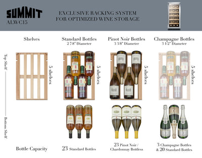 "Summit 15"" Wide 23 Bottle  Built-In Wine Cellar, ADA Compliant - Swings and More"