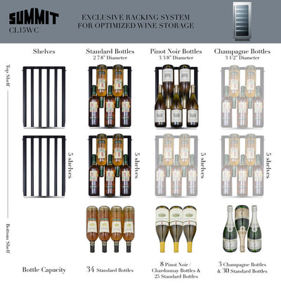 "Summit 33 Bottle 15"" Wide Built-In Wine Cellar CL15WCCSS - Swings and More"