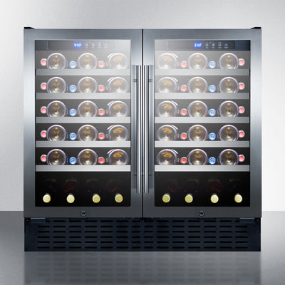 "Summit 36"" Wide Built-In Dual Zone 68 Bottle Wine Cellar - Swings and More"