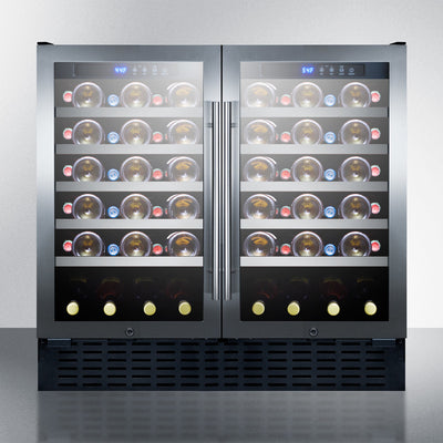 "Summit 36"" Wide Built-In 68 Bottle Dual Zone Wine Cellar, ADA Compliant - Swings and More"