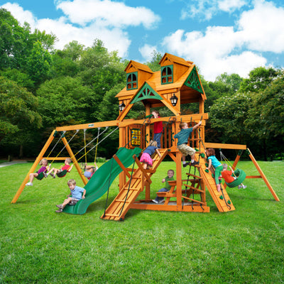 Gorilla Playsets Frontier Swing Set with Malibu Wood Roof 01-0075-AP - Swings and More