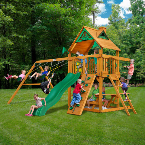 Gorilla Chateau Cedar Wooden Swing Set with Wood Roof, Rock Climbing Wall, and Swing Set Accessories