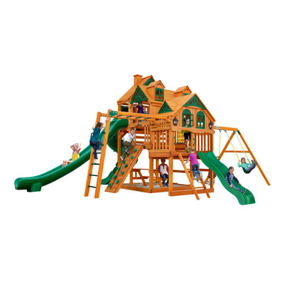Gorilla Playsets Empire Wooden Swing Set with 2 Solar Wall Lights, Monkey Bars, and 3 Slides 01-0089-AP - Swings and More