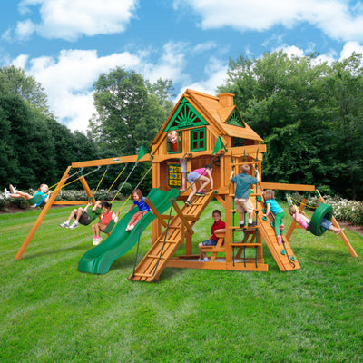 Gorilla Playsets Frontier Treehouse Swing 01-0067-AP Set with Fort Add-On - Swings and More