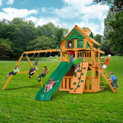 Gorilla Chateau Clubhouse Treehouse Wooden Swing Set with Rope Ladder and Rock Climbing Wall