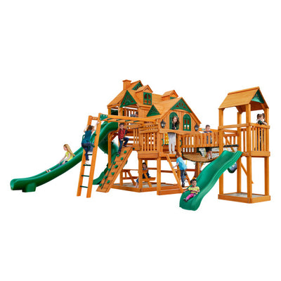 Gorilla Playsets Empire Extreme Wooden Swing Set with Monkey Bars, Clatter Bridge and Tower, and 3 Slides 01-0090-AP - Swings and More