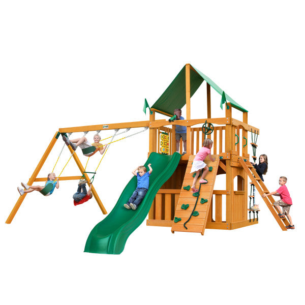 Gorilla Chateau Clubhouse Wooden Swing Set with Green Vinyl Canopy, Rope Ladder, and Rock Climbing Wall - Swings and More
