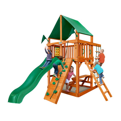 Gorilla Playset Chateau Tower w/ Amber Posts and Deluxe Green Vinyl Canopy 01-0061-AP-1 - Swings and More