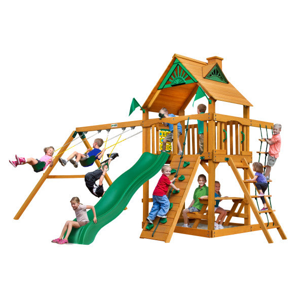 Gorilla Chateau Cedar Wooden Swing Set with Wood Roof, Rock Climbing Wall, and Swing Set Accessories - Swings and More