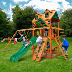 Gorilla Chateau Wooden Swing Set with Malibu Wood Roof, 2 Solar Wall Lights, and Rock Climbing Wall