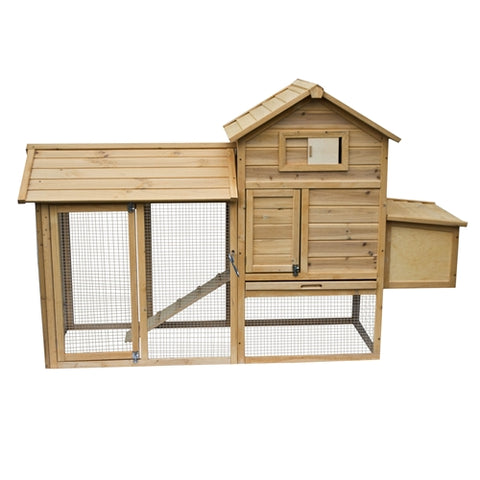 Multi Level Wooden Chicken Coop or Rabbit Hutch - 84 x 28 x 52 Inches - Swings and More