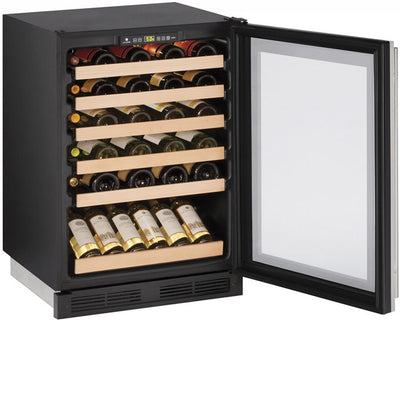 "U-Line 24"" Wide 48 Bottle Single Zone Stainless Steel Built-In Wine Refrigerator - Swings and More"