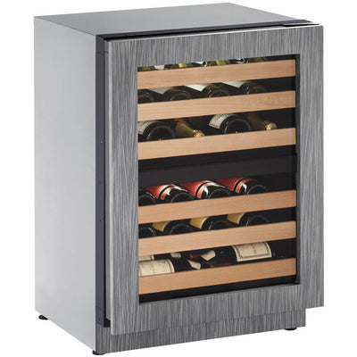 "U-Line 24"" Wide 43 Bottle Dual Zone Panel Overlay Wine Refrigerator - Swings and More"