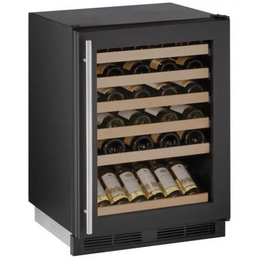 "U-Line 24"" Wide 1000 Series 48 Bottle Single Zone Black Wine Refrigerator - Swings and More"