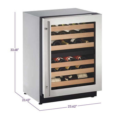 "U-Line 24"" Wide 43 Bottle Dual Zone Stainless Steel Wine Refrigerator U-2224ZWCS-00B - Swings and More"
