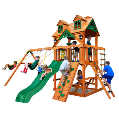 Gorilla Chateau Wooden Swing Set with Malibu Wood Roof, 2 Solar Wall Lights, and Rock Climbing Wall 01-0045-AP - Swings and More