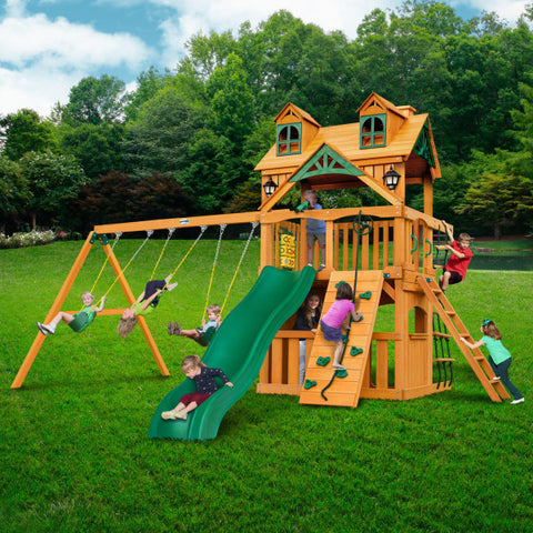 Gorilla Chateau Clubhouse Swing Set with Malibu Wood Roof, 2 Solar Wall Lights, and Rope Ladder