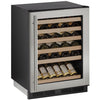 "U-Line 24"" Wide 48 Bottle Single Zone Stainless Steel  Wine Refrigerator Right Hinge - Swings and More"