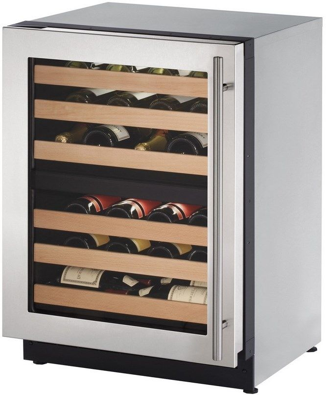 "U-Line 24"" Wide 43 Bottle Dual Zone Stainless Steel Wine Refrigerator Left Hinge U-2224ZWCS-15B - Swings and More"