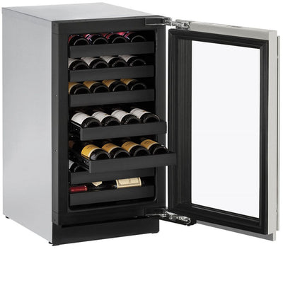 "U-Line 18"" Wide 3000 Series 31 Bottle Single Zone Stainless Steel Wine Refrigerator - Swings and More"