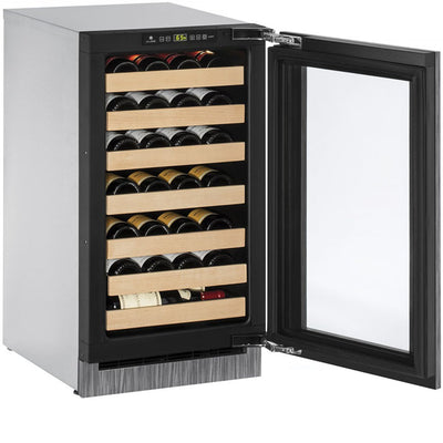 "U-Line Wine Captain Series 18"" Wide 31 Bottle Single Zone Left Hinge Wine Refrigerator - Swings and More"