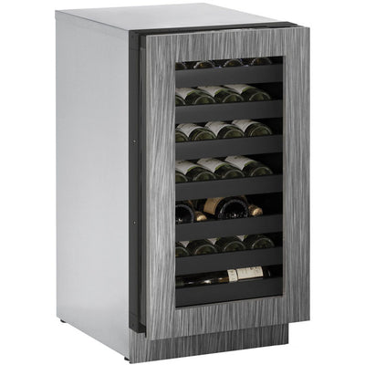 "U-Line18"" Wide 3000 Series 31 Bottle Single Zone Panel Overlay Door Wine Refrigerator - Swings and More"
