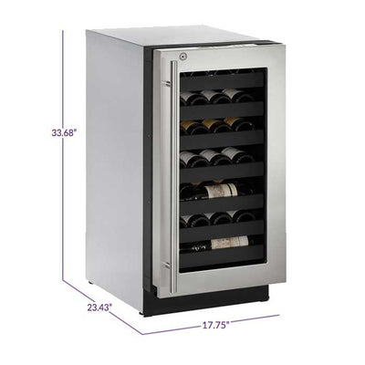 "U-Line 18"" Wide 3000 Series 31 Bottle Single Zone Stainless Steel Right Hinge Wine Refrigerator - Swings and More"