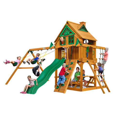 Gorilla Chateau Clubhouse Treehouse Wooden Swing Set with Fort Add-On and Rock Climbing Wall