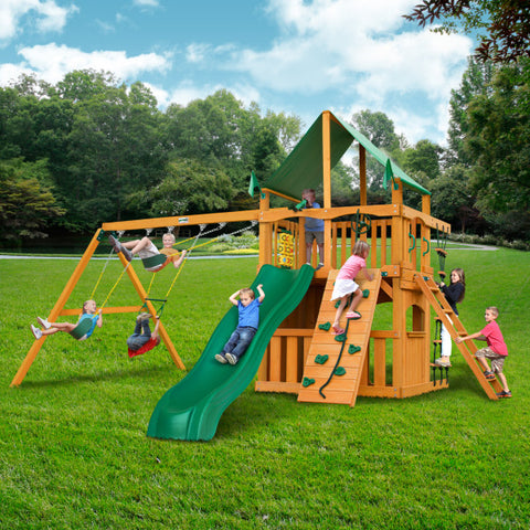 Gorilla Chateau Clubhouse Wooden Swing Set with Green Vinyl Canopy, Rope Ladder, and Rock Climbing Wall