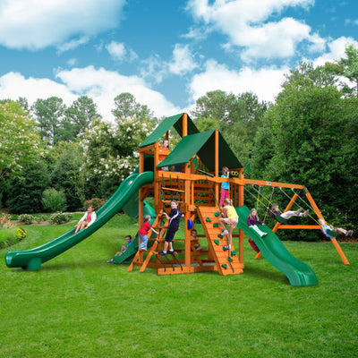 Gorilla Playsets Great Skye II Wooden Swing Set with 2 Sunbrella® Canvas Canopies, 3 Slides, and Rope Ladder 01-0031-AP-2 - Swings and More