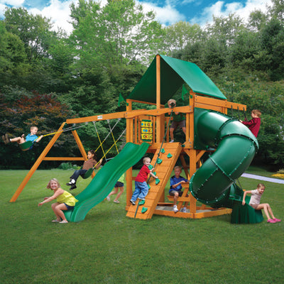 Gorilla Playsets Mountaineer Wooden Swing Set with Green Vinyl Canopy, Extreme Tube Slide, and Rock Climbing Wall 01-0005-AP-1 - Swings and More