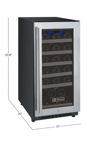 "Allavino FlexCount Series 15"" 30-Bottle Single Zone Wine Refrigerator - Hinge on Right - Swings and More"