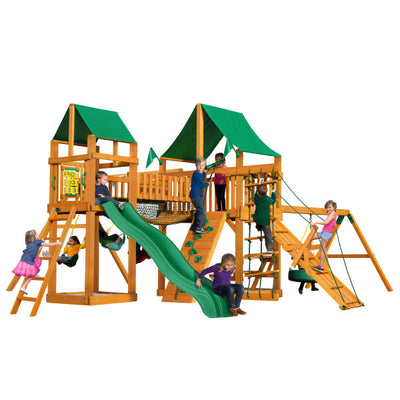 Gorilla Playsets Pioneer Peak Swing Set with Green Vinyl Canopy 01-0006-AP-1 - Swings and More