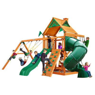 Gorilla Playsets Mountaineer Wooden Swing Set with Wood Roof, Extreme Tube Slide, and Built-in Picnic Table 01-0005-AP - Swings and More