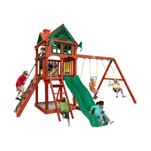 Gorilla Five Star II Wooden Swing Set with Rock Climbing Wall, 2 Belt Swings, and Trapeze Bar 01-0082-RP - Swings and More