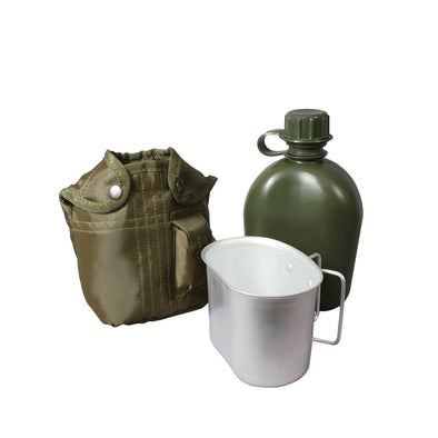 3 Piece Canteen Kit With Cover & Aluminum Cup - Outdoor King