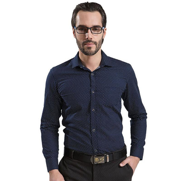 cdb6028c8fb ... 100% Cotton Polka Dot Men Casual Business Dress Shirt Brand Long Sleeve  Males Slim Fit ...