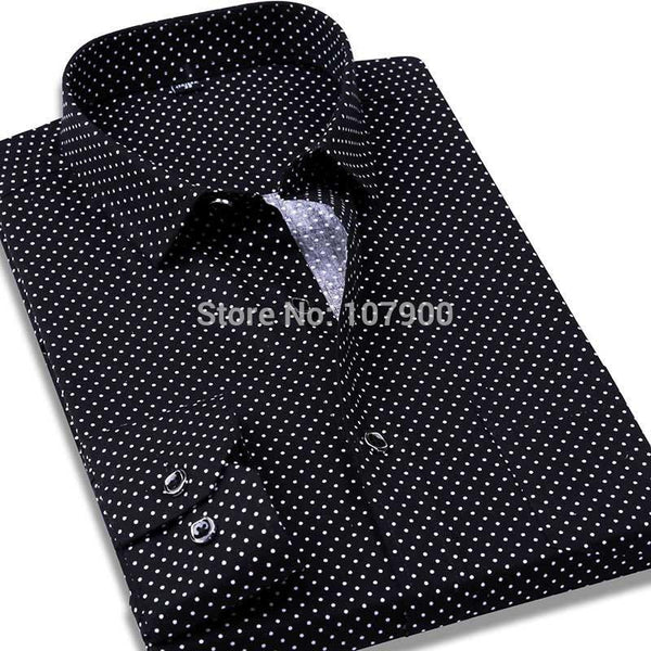 f70bd8f8fcc 100% Cotton Polka Dot Men Casual Business Dress Shirt Brand Long Sleeve  Males Slim Fit ...