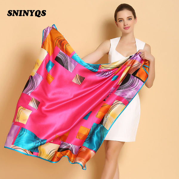 21ae4748b0f 110 cm Ladies Square Silk Scarves Sexy Scarf Women 100% Silk Shawls and  Scarves Luxury Brand For White Collar Smooth All-match