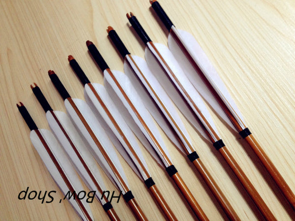 12 PK Archery Traditional Handmade Hunting Shooting Field Point Turkey  Feather Bamboo Arrows For Recurve Bow Free Shipping