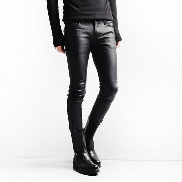 2016 Hot Dress Faux Leather Pants For Men Dance Pants Slim Fit