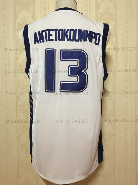3cedde30273 ... 2017 BONJEAN Mens Cheap Throwback Basketball Jersey Hellas Giannis  Antetokounmpo 13 Greece White Stitched Retro Shirts ...