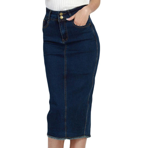 d02385164 2017 Denim Skirt Vintage Button High Waist Pencil Saia Blue Slim ...