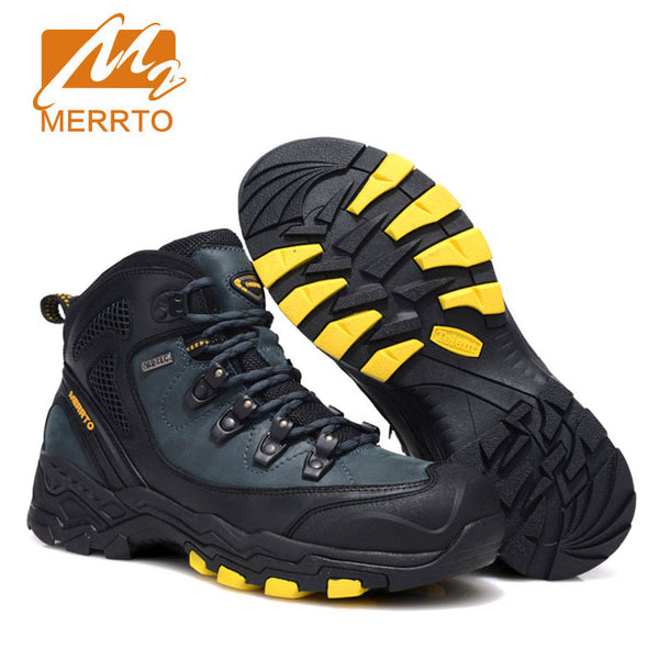 e01e1017669 2017 MERRTO Men Hiking Shoes Cowhide Hiking Boots Rubber Sport Trekking  Shoes High Top Fishing Shoes zapatos outdoor hombre