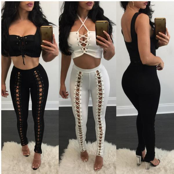 6d04103cd4687 2017 Spring Summer Hollow Out Bandage Pencil Pants Women High Waist Stretch  Street Stylish Front Lacing Up Sexy Party Trousers