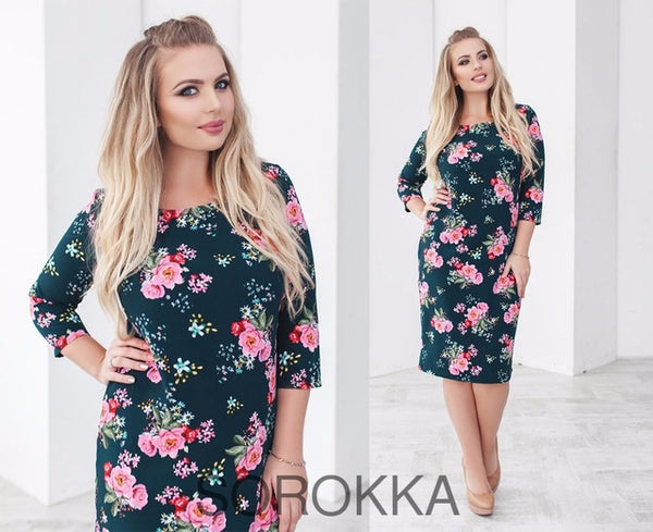 2018 Spring Summer Dress Floral Printed Party Dress Big Size Bodycon