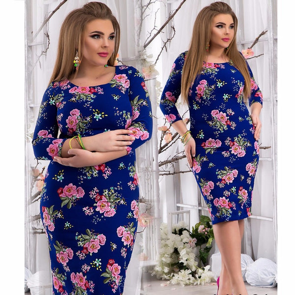 780344163a ... 2018 Spring summer dress floral printed party dress big size bodycon  bandage dress plus size women