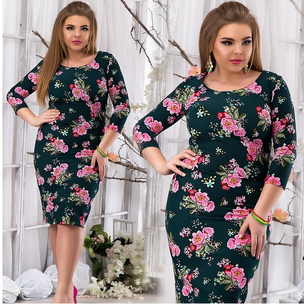 6d0c228174 ... 2018 Spring summer dress floral printed party dress big size bodycon  bandage dress plus size women ...