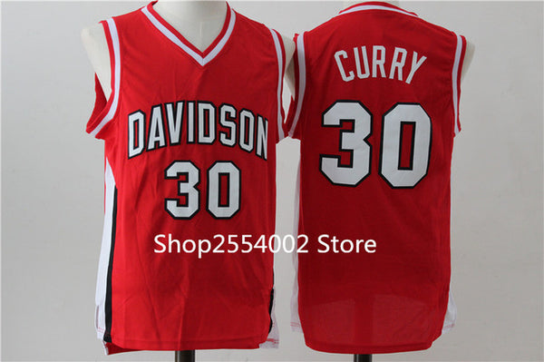quality design 8f4f2 aeda8 #30 Stephen Curry Davidson College Basketball Jersey Stitched US Size S-XXL